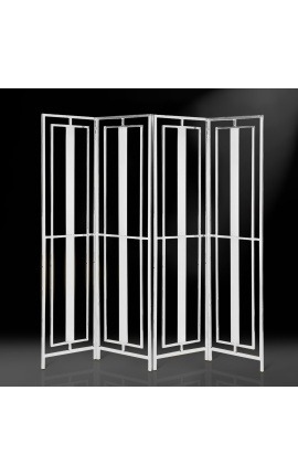 "Folding screen ""Attis"" with 4 leaves in silver finish stainless steel"