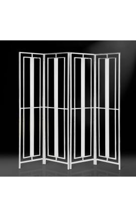 """Paravent """"Attis"""" à 4 vantaux en acier inoxydable argenté"""