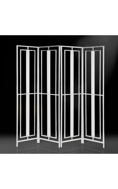 """Folding screen """"Attis"""" with 4 leaves in silver finish stainless steel"""