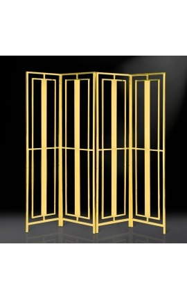 """Paravent """"Attis"""" à 4 vantaux en acier inoxydable doré"""