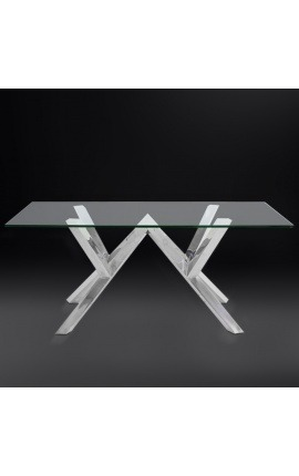 "Dining table ""Thalassa"" in silver finish stainless steel and glass top"