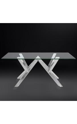 Обеденный стол «Thalassa» из серебристой нержавеющей стали и стекла