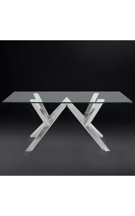 """Table de repas """"Thalassa"""" en acier inoxydable argenté et plateau en verre"""