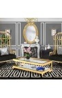 "Large coffee table ""Hermes"" in gold finish stainless steel and glass top"