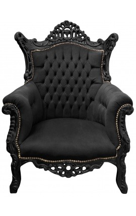 Grand Rococo Baroque armchair black velvet and glossy black