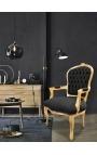 Fauteuil Louis XV de style baroque velours noir et bois doré