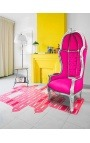 Grand porter's Baroque style chair fuchsia velvet and silver wood