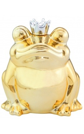Money bank golden ceramic frog