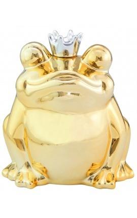 Tirelire Grenouille en céramique dorée