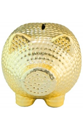 Tirelire cochon en céramique martelée doré