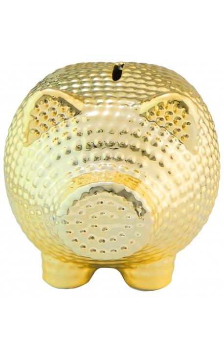 Money bank pig in golden hammered ceramic