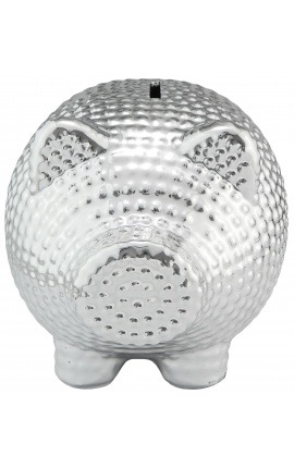 Money bank pig in silvered hammered ceramic