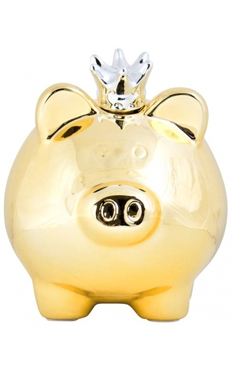 Money bank pig with crown in golden ceramic