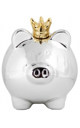 Money bank pig with crown in silvered ceramic