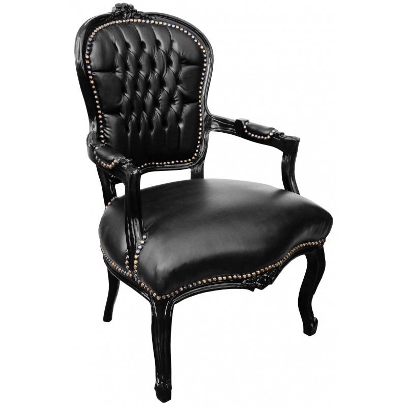 Baroque armchair of Louis XV black leatherette and black wood