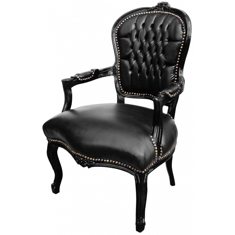 fauteuil baroque de style louis xv simili cuir noir et bois noir. Black Bedroom Furniture Sets. Home Design Ideas