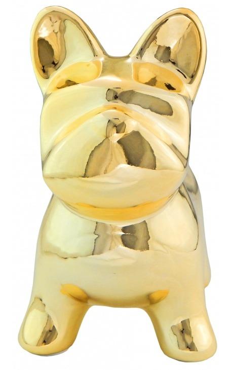Money bank bulldog in golden ceramic
