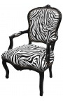 Baroque armchair Louis XV style zebra and black lacquered wood