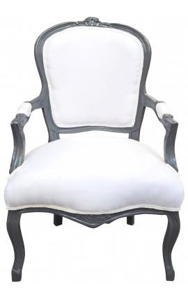 Кресло в стиле барокко Louis XV белого цвета и антрацитовая серая древесина