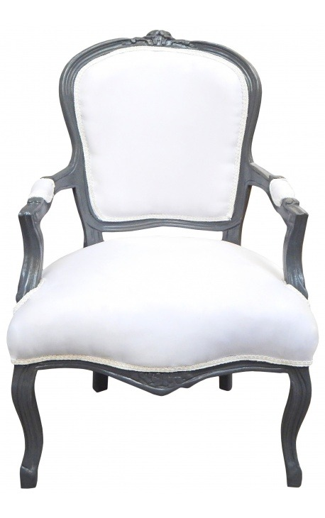 Baroque armchair Louis XV white fabric and anthracite gray wood