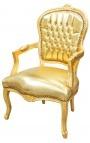 Кресло стиль Louis XV позолота кожа и дерево Золотой