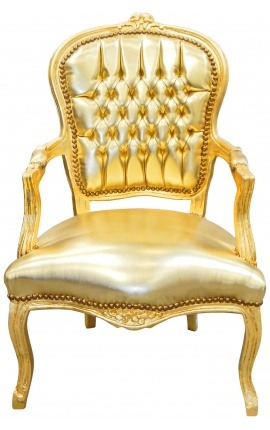 Baroque armchair of style Louis XV gold false skin leather and gold wood
