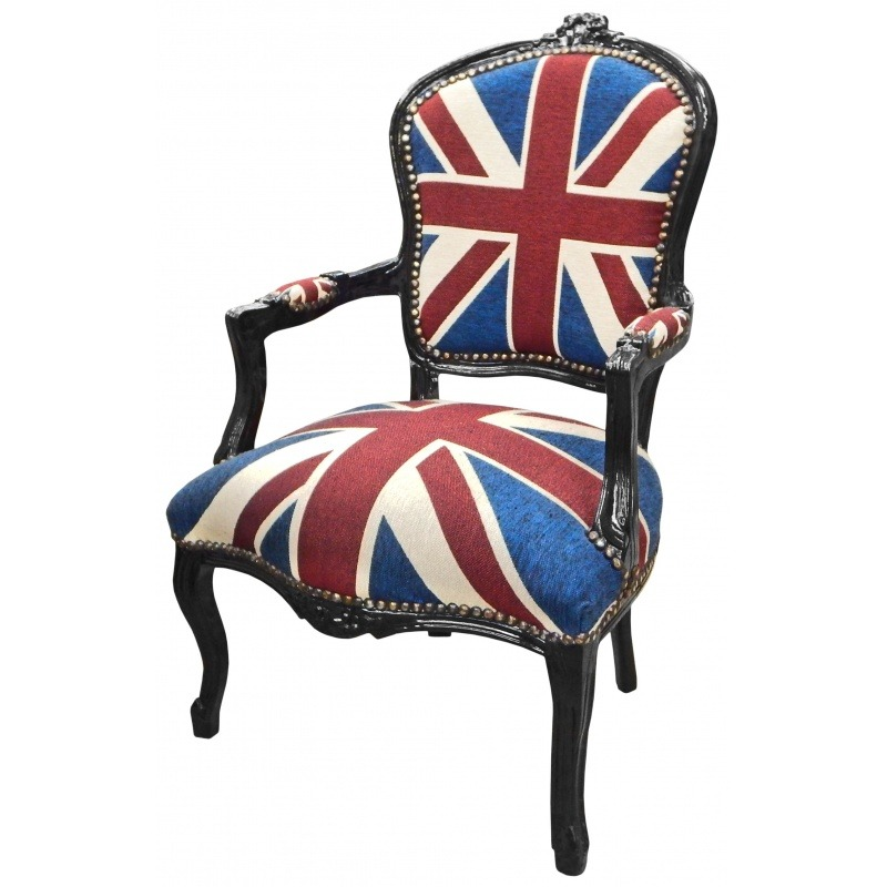 """Union Jack"" baroque armchair of Louis XV style and black wood"