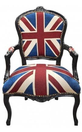 """Fauteuil Louis XV de style baroque """"Union Jack"""" et bois noir"""