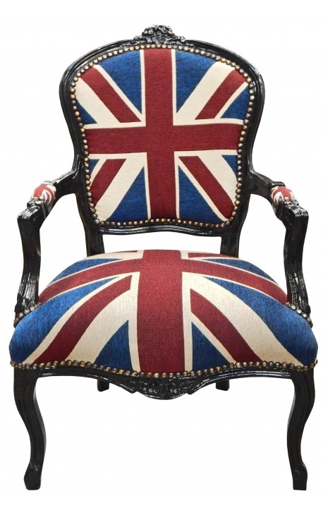 fauteuil baroque de style louis xv union jack et bois noir. Black Bedroom Furniture Sets. Home Design Ideas