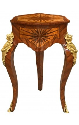 Pedestal table Louis XIV style inlaid with gilded bronzes
