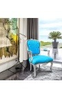 Baroque armchair of style Louis XV turquoise blue and silvered wood