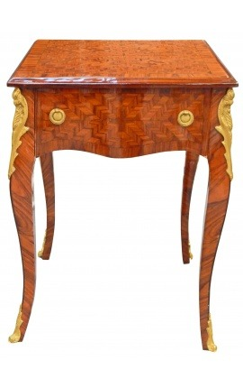 Louis XV style side table with marquetry
