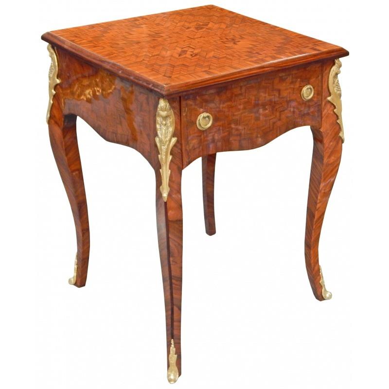 Table d 39 appoint carr e de style louis xv avec marqueterie - Table d appoint carree ...
