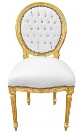 Louis XVI style chair white leatherette with rhinestones and god wood