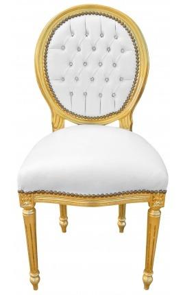 Chaise de style Louis XVI simili cuir blanc avec cristaux et bois doré