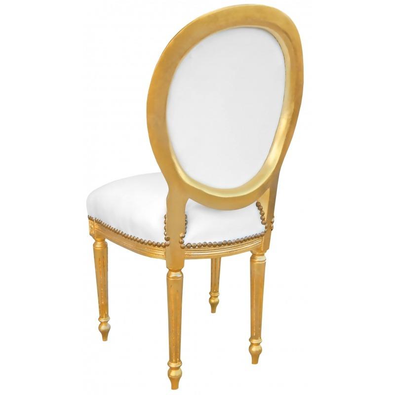 Chaise De Style Louis XVI Simili Cuir Blanc Avec Cristaux Et Bois Dore