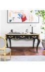 Big baroque desk Louis XV style with 3 drawers, black