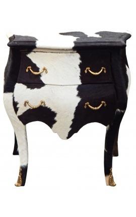 Table de nuit (chevet) commode baroque vrai peau de vache noire avec 2 tiroirs et bronzes dorés