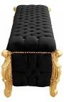 Grande banquette coffre baroque de style Louis XV tissu velours noir avec strass et bois doré