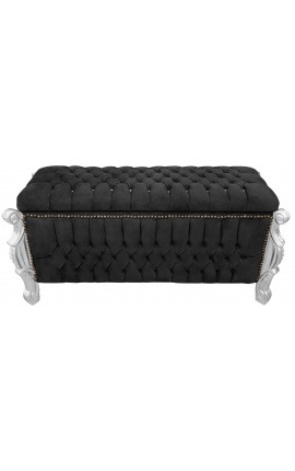 Big baroque bench trunk Louis XV style black velvet fabric with cristals and silver wood