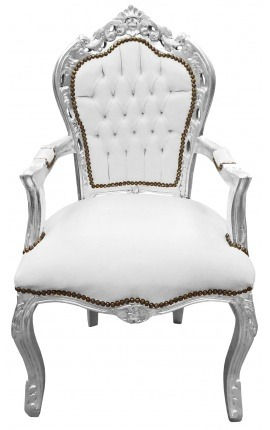Armchair Baroque Rococo style white leatherette and silvered wood