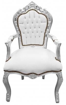 Fauteuil de style Baroque Rococo tissu simili cuir blanc et bois argent
