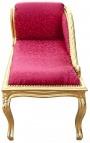 Méridienne de style Louis XV tissu satiné rouge et bois doré