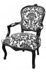 Fauteuil baroque de style Louis XV tissu motifs floraux noir et bois noir