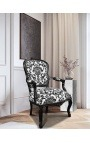 Baroque armchair of Louis XV style with black floral fabric and black wood