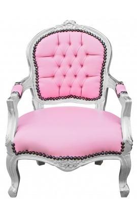 Fauteuil baroque enfant simili cuir rose et bois argent