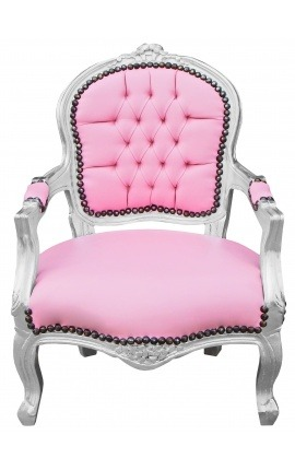 Baroque armchair for child rose false skin leather and silver wood