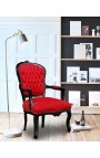 Baroque armchair of Louis XV style red velvet fabric and black lacquered wood