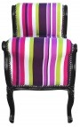 Baroque Louis XV bench multicolor stripes fabric and black wood