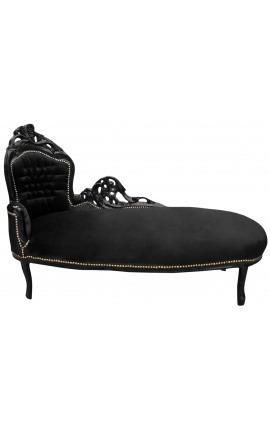 Grande méridienne baroque tissu velours noir et bois laqué noir